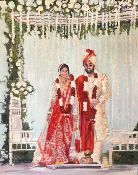 live event painting, indian wedding, orlando wedding, hindu wedding, event planner, wedding gift