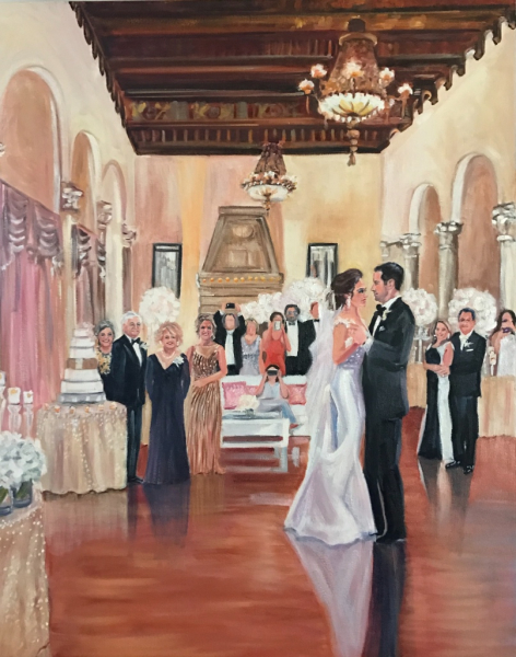 wedding, first dance, live event painting, nancy spielman, artist, wedding portrait, wedding present