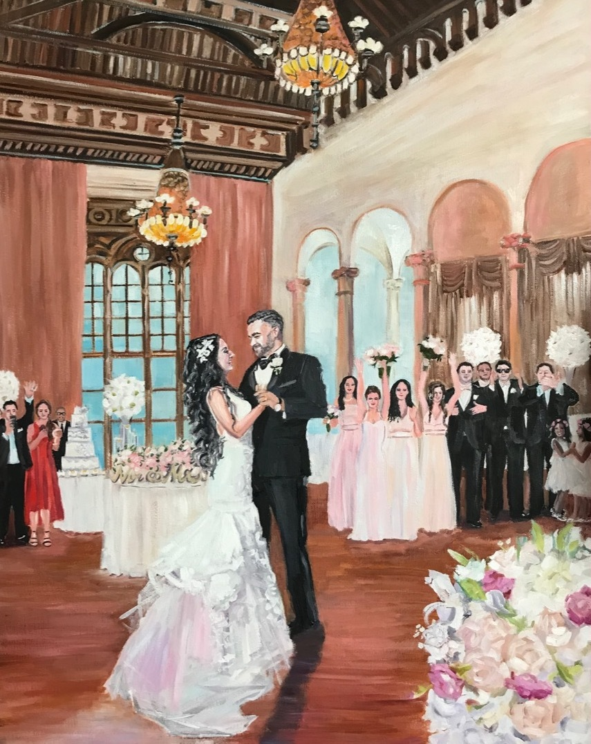 first dance, live event painting, wedding gift